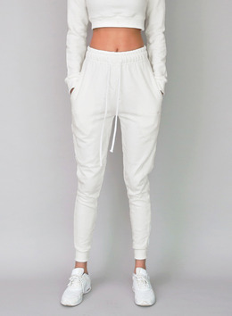 KASSY JOGGER TROUSERS - SKINNY FIT - CREAM 케이시 조거 트라우져 - 스키니핏 - 크림