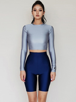 KATHARINE CROPPED TOP - SILVER 캐서린 크롭탑 - 실버