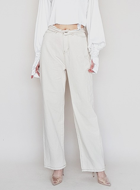 ABLE VINTAGE WIDE JEANS - CREAM 에이블 빈티지 와이드진 - 크림